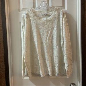 Peter Nygard Cream/Silver Metallic Knit Sweater L